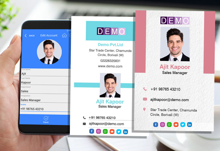 Your next important professional connection could be just a few clicks away! Choose a template, input your information, and instantly share your new Visiting Card with your contacts